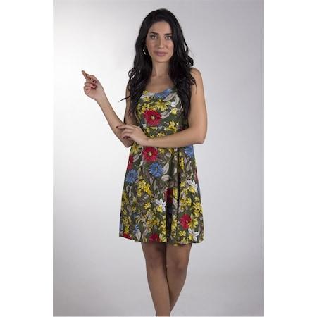 2198dfb2e999f Bayan Haki Çiçek Desenli İnce Askılı Elbise - n11.com