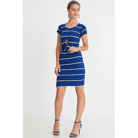 3f0e70653fc Belden Bağlamalı Elbise Saks - n11.com