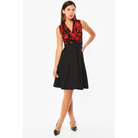 ed086514f05f9 Bianco Lucci Kadın Üst Kırmızı Çiçek Detay Kolsuz Diz Üstü Elbise - n11.com