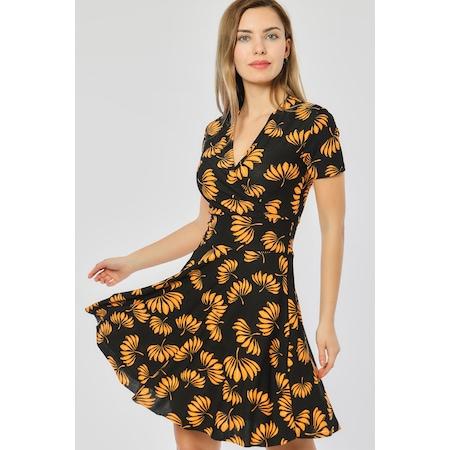 e7d91c990429f Bianco Lucci Sarı Çiçekler Desen Siyah Kadın Kruvaze Yaka Elbise ...