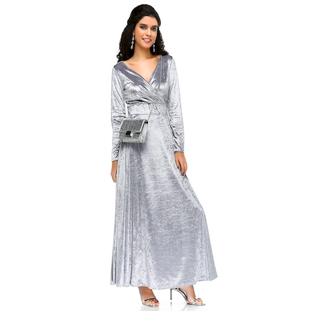 927eb80f29c33 Bonalodi Kadife Kruvaze Maxi Kloş Gümüş Siyah Bayan Uzun Elbise ...