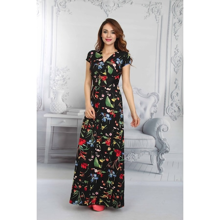 223e92f5c954d Daisy Çiçekli Anvelop Kısa Kollu Uzun Elbise - Siyah - n11.com