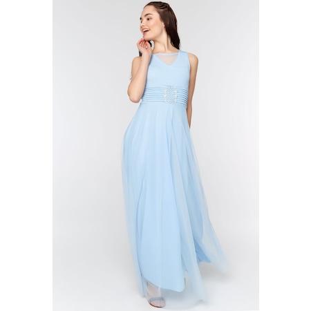 dc910ced1de5c Fullamoda Kadın Simli Uzun Buz Mavi Elbise - n11.com