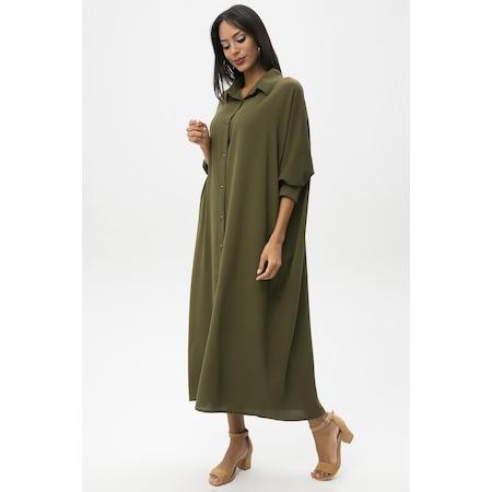 4eeae0a339a94 Haki Kadın Uzun Salaş Elbise - n11.com