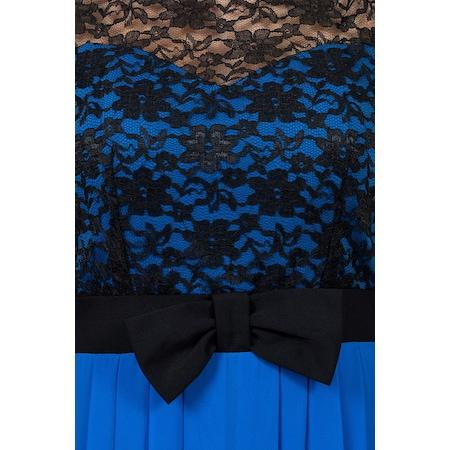 037035c91e9c3 İroni Fiyonk Kemerli Arkası Uzun Mavi Abiye Elbise - n11.com