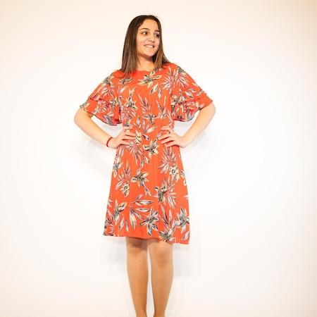 10293523e7a62 Kadın Koton Çiçek Desenli Kısa Kol Elbise - n11.com