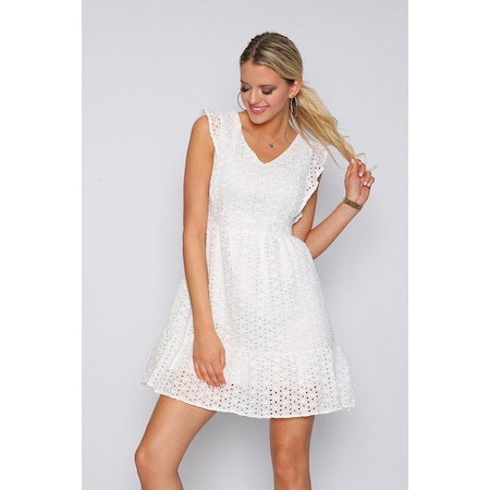 2c5ab45db1a3a Beyaz Güpürlü Elbise 2019 Elbise Modelleri & Fiyatları - n11.com