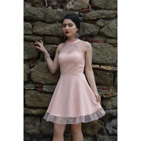 731e41c192abf Kısa Elbise Tül Detaylı Yakası Fırfırlı Abiye Mezuniyet Balo Nika - n11.com