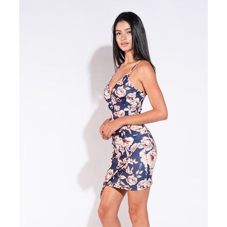 b19d1cf58edd5 Lovebox - Esnek Krep Kumaş Çiçek Desenli Askılı Elbise Lp-155 - n11.com