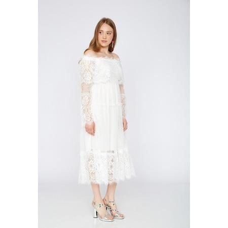 b155ece68c590 Beyaz Güpür Elbise Kadın Giyim & Aksesuar - n11.com