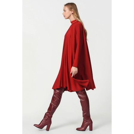 ff3334ebfd969 Mızalle Bol Kesim Yaka Detaylı Elbise (bordo) - n11.com