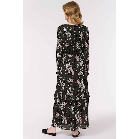 867edc50a1a2c Mızalle Çiçek Desenli Uzun Elbise (siyah) - n11.com