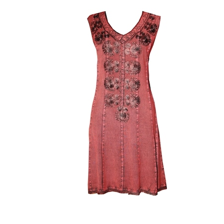 f252dfae44551 V Yaka- Sıfır Kol- Çiçek Desenli Yazlık Bayan Elbise - n11.com