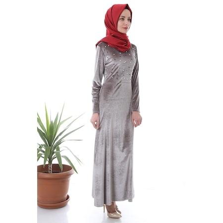 8ab41d73eafad Yeni Trend Taşlı Kadife Saks Mavi Elbise - n11.com