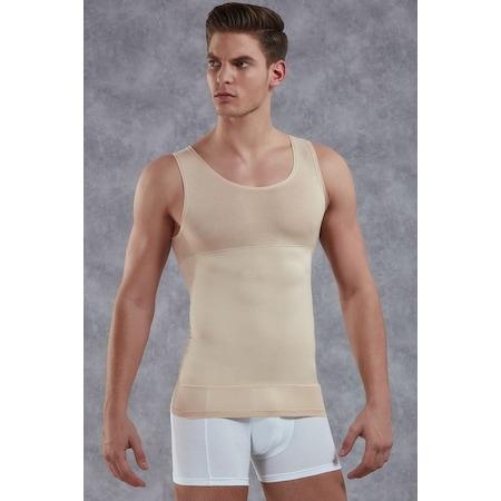 Kalın askılı U yaka, bel ve karın bölgesinde yüksek toplama özelliği olan erkek korse atlet. Erkeklere özel tasarlanmış kıyafetlerin altından belli olmayan tasarımı .