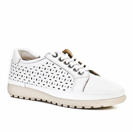 Cabani Bağcıklı Lazerli Günlük Kadın Ayakkabı Beyaz Deri
