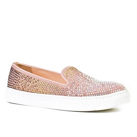 Cabani Taş Süslemeli Sneaker Kadın Ayakkabı Pembe Suet