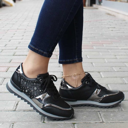 Taşlı Spor Ayakkabı Sneaker Siyah Gümüş Wobos