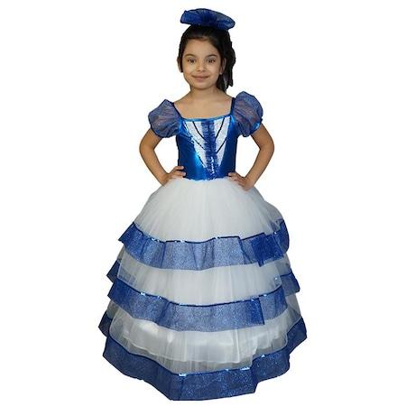 5820fe939d201 Özel Tarlatanlı Mavi Kız Çocuk Kostümü - Mezuniyet Abiyesi - n11.com