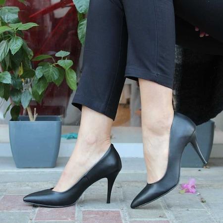8 cm Topuklu Bayan Ayakkabı Stiletto Gri Vizon Siyah-Bega