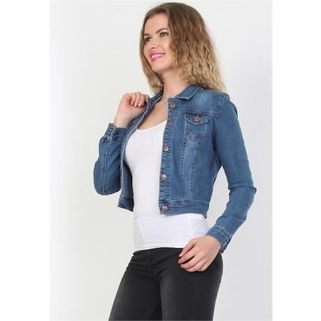 7e3dd222df5dc Yeni Trend Açık Mavi Bayan Kot Ceket N11com