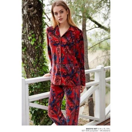 dadab579c5e07 Penye Mood 8403 Düğmeli Gömlek Yaka Kadife Pijama Takım - n11.com