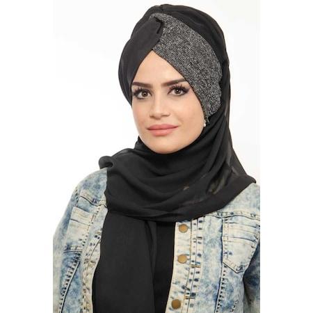 10aa38035e43f Bayan Siyah Antrasit Simli Burgu Hazir Türban Tesettür - n11.com