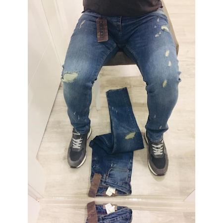 a81f059fc5e98 Denim Republic Yırtık Mavi Slim Fit Erkek Kot Pantolon-4780 - n11.com