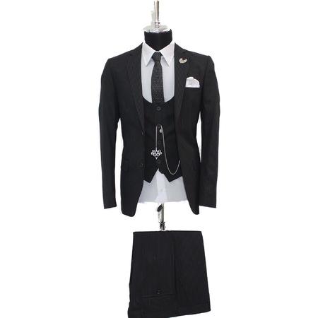 afe8178ecaf2c Erkek Yelekli King Çizgili Süper Slim Fit Takım Elbise (huron) - n11.com