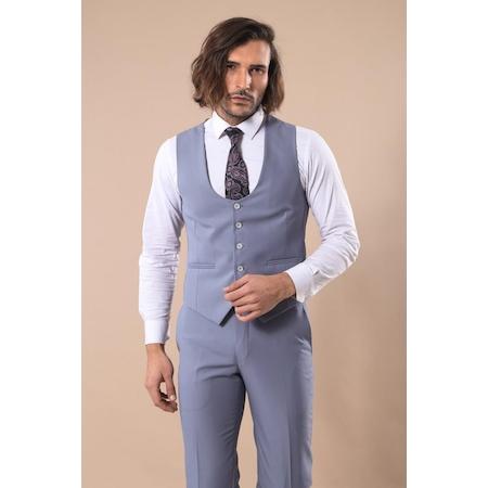 8edad562afcd1 Gri Sivri Yaka Tek Düğmeli Slim Fit Yelekli Takım Elbise | Wessi - n11.com