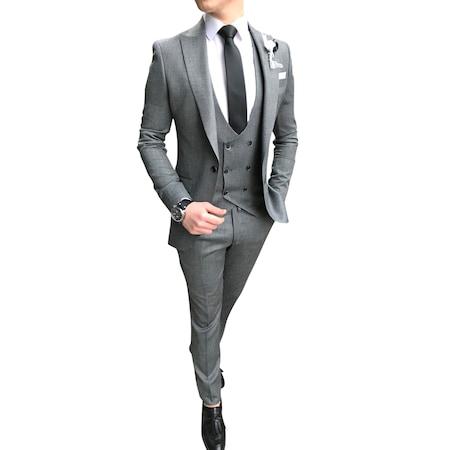 b95eed10d179f İtalyan Stil Ceket Yelek Pantolon Koyu Gri Takım Elbise T3307 - n11.com