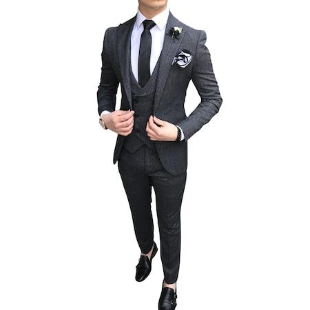 1a3e0488ad9e7 İtalyan Stil Erkek Ceket Yelek Pantolon Siyah Takım Elbise T2336 ...