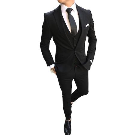 95165334215ca İtalyan Stil Erkek Ceket Yelek Pantolon Siyah Takım Elbise T2494 ...