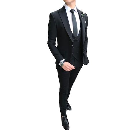 a1e1dfa818f62 İtalyan Stil Erkek Ceket Yelek Pantolon Siyah Takım Elbise T3527 ...