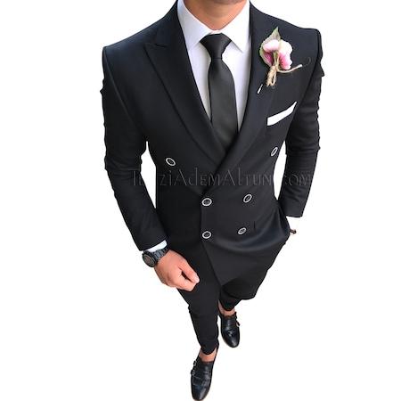 91fcb5d41be52 İtalyan Stil Kruvaze Siyah Erkek Takım Elbise T1755 - n11.com