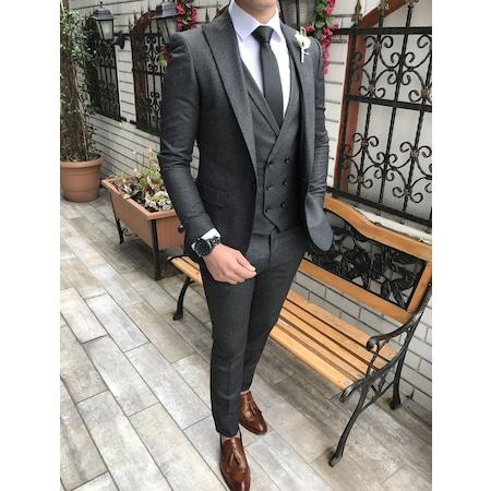 ef527d7aeff9f İtalyan Stil Slim Ceket Yelek Pantolon Koyugri Takım Elbise T2974 - n11.com