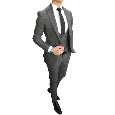 098ab0049df64 İtalyan Stil Slim Fit Ceket Yelek Pantolon Gri Takım Elbise T2612 ...