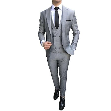 06bb567fcd8ad İtalyan Stil Slim Fit Ceket Yelek Pantolon Gri Takım Elbise T2641 ...
