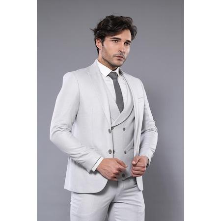 f7b7ef4de6dfe Kendinden Desenli Açık Gri Yelekli Takım Elbise | Wessi - n11.com