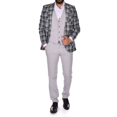 b52ff10e4b9be Süvari Slim Fit Yelekli Takım Elbise 1020200066 - n11.com