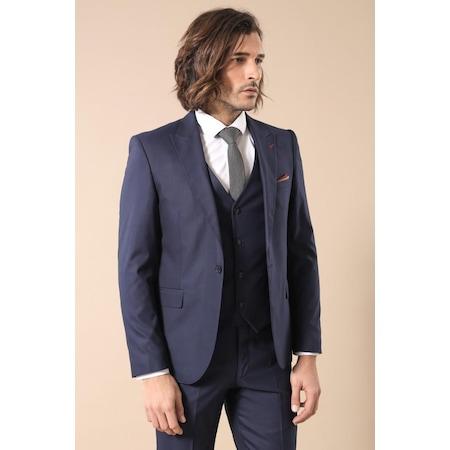 4b9135fc3af90 Tek Düğme Yelekli Lacivert Takım Elbise | Wessi - n11.com