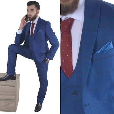e8e9ce2809ad5 Yelekli Ekose Takım Elbise Modeli 72 - Parlement Mavi - n11.com