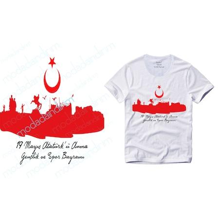 19 Mayıs Atatürkü Anma Baskılı Erkek Tişört 1 Kalite Kumaş N11com