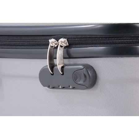99a752f1a6cf5 4 Tekerlekli Kırılmaz Orta Boy Plastik Valiz Gri Bavul Seyahat - n11.com