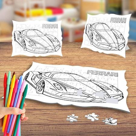 Luks Spor Araba Modelli Boyama Puzzle Tablo Cocuk Egitici Yapboz