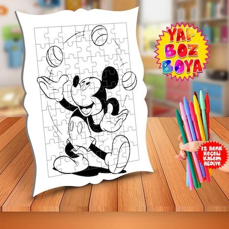 Top Donduren Mickey Mouse Egitici Boyama Puzzle Tablo Cocuk M141