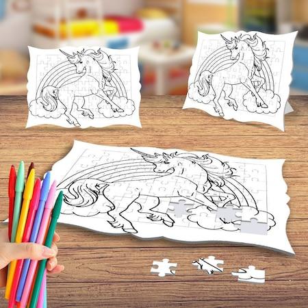 Unicorn Boynuzlu At Boyama Puzzle Tablo Cocuk Egitici Yapboz N11 Com