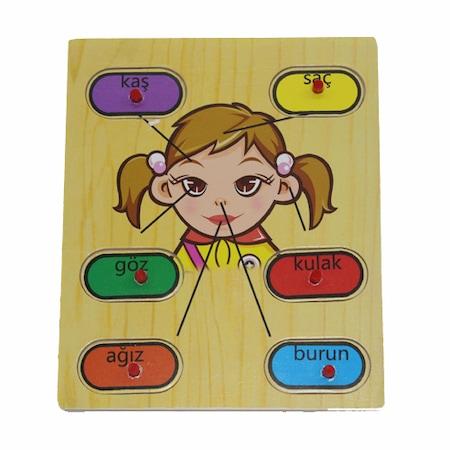 Ahşap Tutmalı Puzzle Duyu Organlarımız Kız N11com