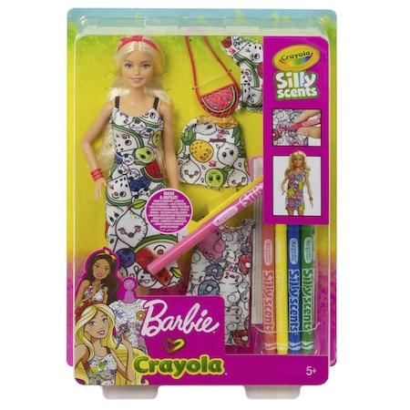 Barbie Bebek Crayola Renkli Kiyafetler Elbise Boyama Gardirop