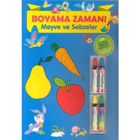 Boyama Zamani Meyve Ve Sebzeler Pastel Boya Hediyeli Boyama Kit